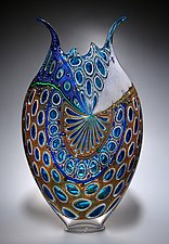 Aqua Gold Foglio by David Patchen (Art Glass Sculpture)