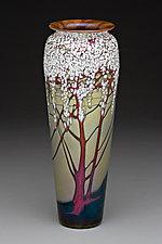 Large Gold Cherry Blossom Vase by Carl Radke (Art Glass Vase)