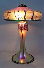 Large Gold Cherry Blossom Lamp by Carl Radke (Art Glass Table Lamp)