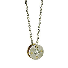 Rivet Pendant Necklace in Platinum, 18K and Diamond by Catherine Iskiw (Gold, Platinum & Diamond Necklace)
