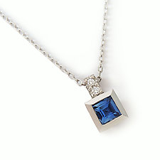 S17 Pendant in Platinum with 4mm Sapphire and Diamonds by Catherine Iskiw (Platinum & Stone Necklace)