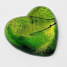 Green Heart by Sarinda Jones (Art Glass Paperweight)
