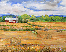 Round Bales by Judy Hawkins (Oil Painting)