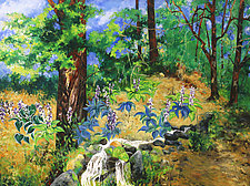 Hostas by the Spring by Judy Hawkins (Oil Painting)