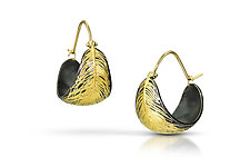 Floating Feather Hoops by Edna Madera (Gold & Silver Earrings)