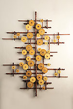Golden Ripples by Hannie Goldgewicht (Mixed-Media Wall Sculpture)