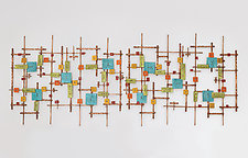 City Lights by Hannie Goldgewicht (Mixed-Media Wall Sculpture)