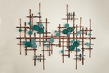 Broken Horizon in Turquoise and Teal by Hannie Goldgewicht (Mixed-Media Wall Sculpture)
