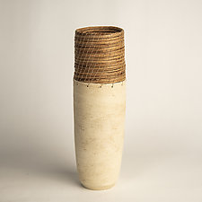 Cream Tower Vessel by Hannie Goldgewicht (Ceramic Vessel)