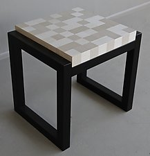 Silvertone Square Side Table by Kevin Irvin (Wood Side Table)