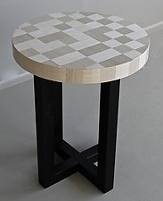 Silvertone Circle Side Table by Kevin Irvin (Wood Side Table)