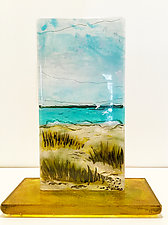 Seagulls and Sand Dunes by Alice Benvie Gebhart (Art Glass Sculpture)