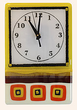 Whimsical Clock in Warm Colors by Alice Benvie Gebhart (Art Glass Clock)
