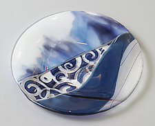 Swirls in Blue by Alice Benvie Gebhart (Art Glass Platter)