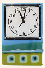 Whimsical Clock in Blues and Greens by Alice Benvie Gebhart (Art Glass Clock)