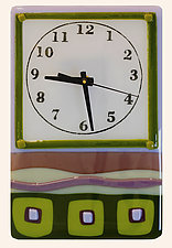 Whimsical Clock in Green and Violet by Alice Benvie Gebhart (Art Glass Clock)