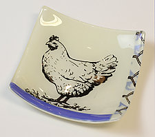 Hen Dish by Alice Benvie Gebhart (Art Glass Dish)