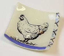 Hen Dish by Alice Benvie Gebhart (Art Glass Dish)