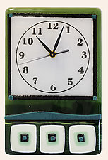 Whimsical Timepiece in Green by Alice Benvie Gebhart (Art Glass Clock)