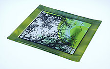 In the Trees in Green by Alice Benvie Gebhart (Art Glass Tray)