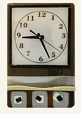 Whimsical Clock in Neutral by Alice Benvie Gebhart (Art Glass Clock)