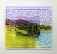 Fields of Plum by Alice Benvie Gebhart (Art Glass Wall Sculpture)