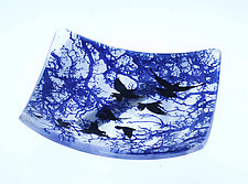Fly Away Home in Blue by Alice Benvie Gebhart (Art Glass Bowl)