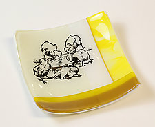 Chicks in Yellow and Gold by Alice Benvie Gebhart (Art Glass Bowl)