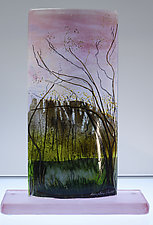 Sunset Behind the Trees by Alice Benvie Gebhart (Art Glass Sculpture)
