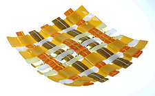 Square Glass Weaving in Gold by Alice Benvie Gebhart (Glass Bowls)
