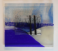 Cobalt Winter by Alice Benvie Gebhart (Art Glass Wall Sculpture)