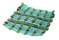 Square Glass Weaving in Green by Alice Benvie Gebhart (Art Glass Tray)