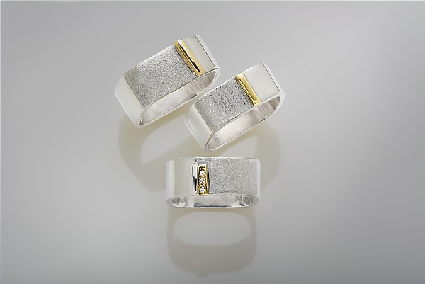 Silver Square Gold Bar Ring Series
