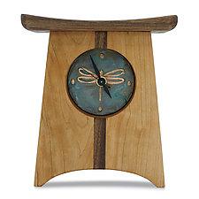 Dragonfly East of Appalachia Mantel Clock by Desmond Suarez (Wood Clock)