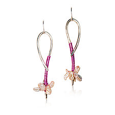 Dancer Earrings by Valerie Ostenak (Silver, Pearl & Enamel Earrings)