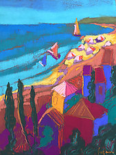 Three Dreams Set Sail on a Turquoise Sea by Dorothy Fagan (Pastel Painting)