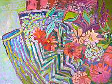Remembering You on Our Meandering Garden Path by Dorothy Fagan (Oil Painting & Giclee Print)