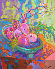 Buckets of Love Impatiens by Dorothy Fagan (Oil Painting)