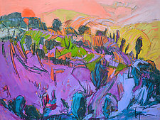 Vermilion Sunset by Dorothy Fagan (Mixed-Media Painting)