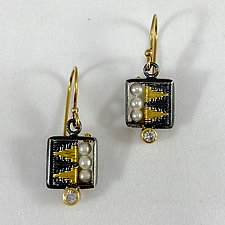 Small Square Seed Pearl Earrings by Sally Craig (Gold, Silver, Pearl & Stone Earrings)