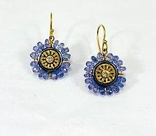 Tanzanite Gold Earrings by Sally Craig (Gold & Stone Earrings)
