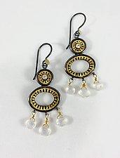 Tiered Moonstone Earrings by Sally Craig (Gold & Stone Earrings)