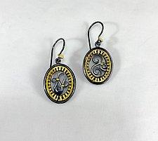 Oval Scrollwork Gold Earrings by Sally Craig (Gold Earrings)