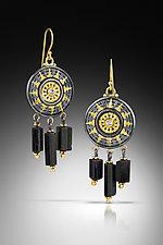 Black Tourmaline Earrings by Sally Craig (Gold, Silver & Stone Earrings)