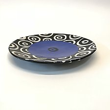 Medium Disc Plate in Blue with Donut Pattern by Matthew A. Yanchuk (Ceramic Plate)