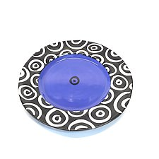 Round Rim Plate in Blue with Donut Pattern by Matthew A. Yanchuk (Ceramic Plate)