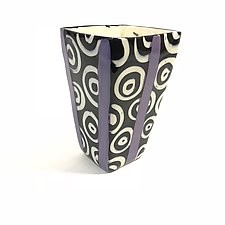 Small Square Vase in Purple with Donut Pattern by Matthew A. Yanchuk (Ceramic Vase)