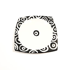 Large Square Plate in Black and White with Donut Pattern by Matthew A. Yanchuk (Ceramic Plate)