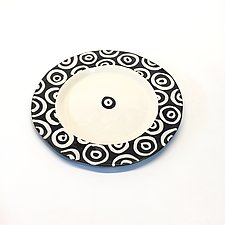 Round Rim Plate in Black and White with Donut Pattern by Matthew A. Yanchuk (Ceramic Plate)