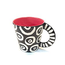 Large Mug in Red with Donut Pattern by Matthew A. Yanchuk (Ceramic Mug)
